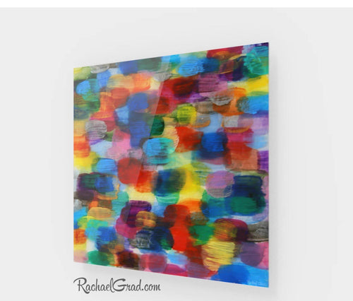 Colorful Abstract Art | Yellow Red Artwork | Colourful Square Art Prints | High Shine Artwork for Home or Office Decor Colourful Art Prints by Toronto Artist Rachael Grad full view
