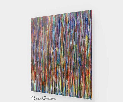 Colorful Abstract Prints | 24 x 20 High Gloss Abstract Art, Striped Artwork Green Blue Red Yellow Purple Multicolor Lines Artwork Wall Decor by Toronto Artist Rachael Grad