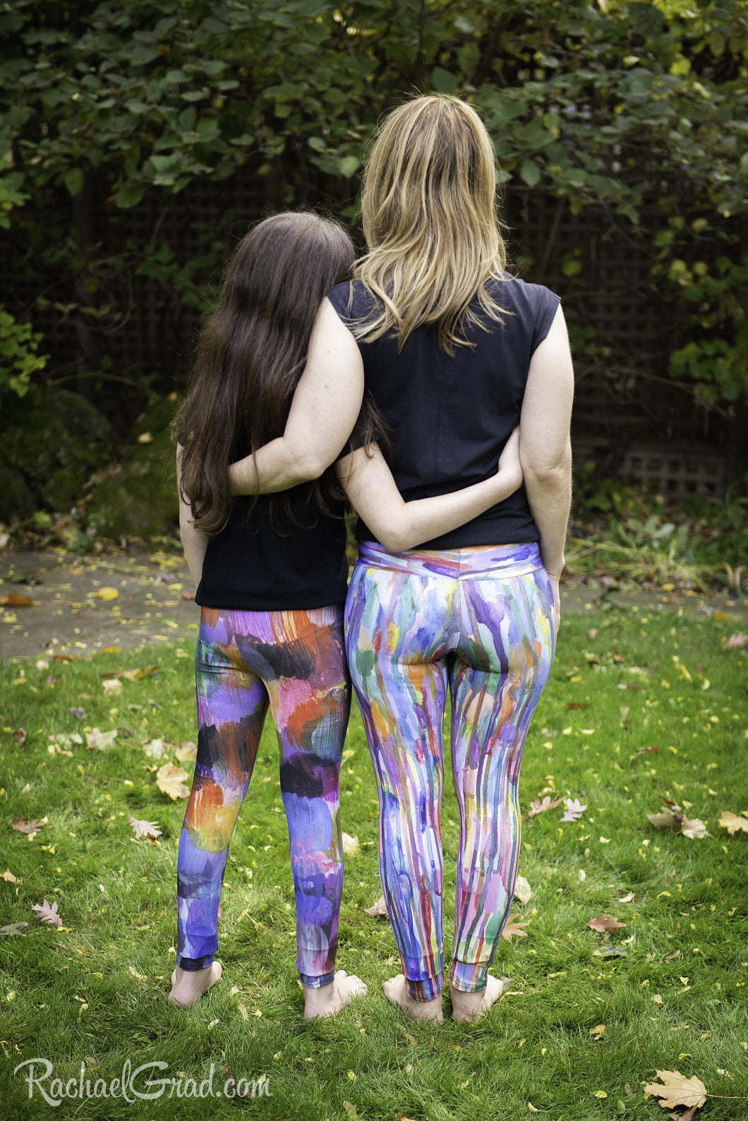 Matching Mommy and Me Art Leggings WITH RAINBOW STRIPES by Artist Rachael Grad back view