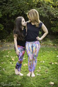 Matching Mommy and Me Art Leggings with rainbow stripes by Artist Rachael Grad front view facing