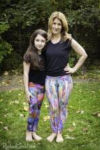 Load image into Gallery viewer, Colorful Art Leggings by Toronto Artist Rachael Grad front view on Mom and Daughter pants