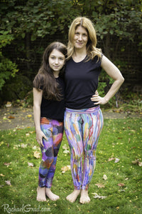 Colorful Art Leggings by Toronto Artist Rachael Grad front view on Mom and Daughter pants