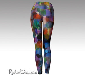 Colorful Yoga Leggings, Womens Tights, Art Fitness Wear by Artist Rachael Grad