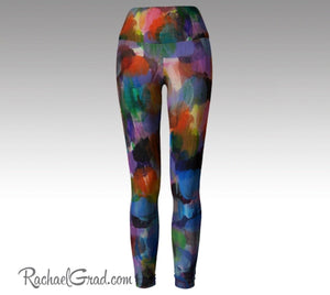 Colorful Women Leggings Art Legging Pants by Artist Rachael Grad back