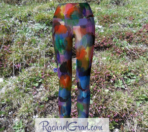Colorful Art Yoga Leggings by Artist Rachael Grad grass background