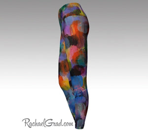 Colorful Women Leggings Art Legging Pants by Artist Rachael Grad side view