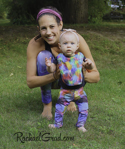 Colorful Baby Bib and Art Leggings by Toronto Artist Rachael Grad