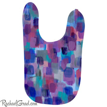 Load image into Gallery viewer, Colorful Baby Bibs in Purple, Blue, Pink and Grey by Artist Rachael Grad super soft