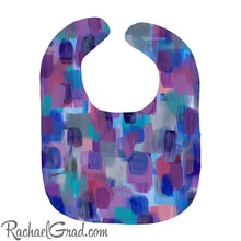 Load image into Gallery viewer, Colorful Baby Bibs in Purple, Blue, Pink and Grey by Artist Rachael Grad heavyweight cotton
