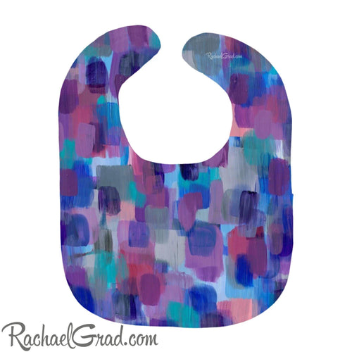 Colorful Baby Bibs in Purple, Blue, Pink and Grey by Artist Rachael Grad heavyweight cotton