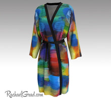 Load image into Gallery viewer, Colorful Bathrobe, Art Robes for Women, Holiday Gift for Her, Multicolor Peignoir Bathrobes, Original Art Robe, Abstract Art Brides Robes by Artist Rachael Grad front