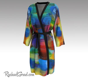 Colorful Bathrobe, Art Robes for Women, Holiday Gift for Her, Multicolor Peignoir Bathrobes, Original Art Robe, Abstract Art Brides Robes by Artist Rachael Grad front