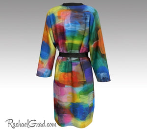 Colorful Bathrobe, Art Robes for Women, Holiday Gift for Her, Multicolor Peignoir Bathrobes, Original Art Robe, Abstract Art Brides Robes by Artist Rachael Grad back