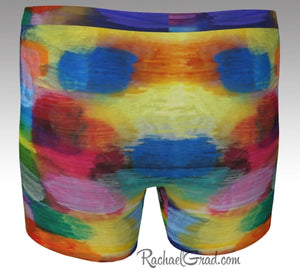 Multicolored Mens Boxer Briefs Underwear by Canadian Artist Rachael Grad back view
