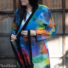 Load image into Gallery viewer, Colourful Bathrobe on Artist Rachael Grad front view