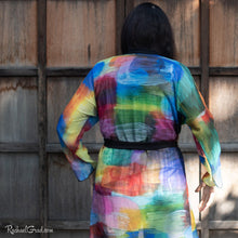 Load image into Gallery viewer, Colourful Bathrobe on Toronto Artist Rachael Grad back view