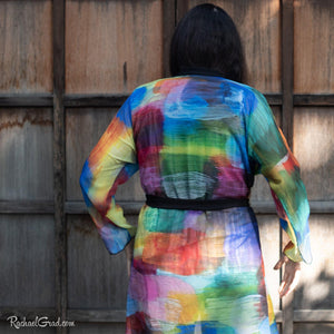 Colourful Bathrobe on Toronto Artist Rachael Grad back view
