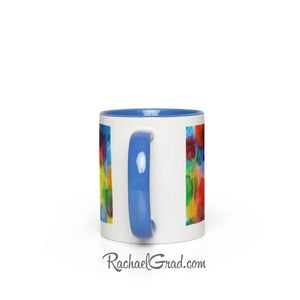 Colourful Abstract Art Mugs, blue handle view by Artist Rachael Grad