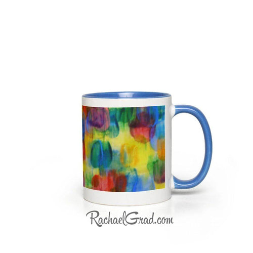 Colourful Abstract Art Mugs, blue side view by Artist Rachael Grad