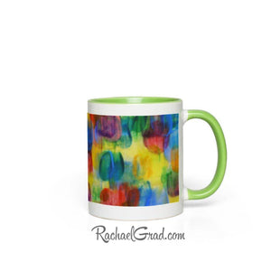 Colourful Abstract Art Mugs, green handle view from side by Artist Rachael Grad