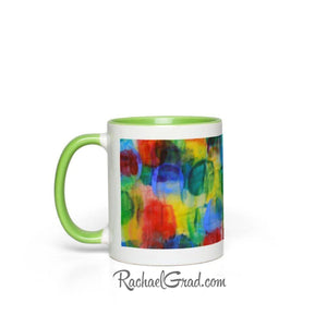 Colourful Abstract Art Mugs, green side view by Toronto Artist Rachael Grad