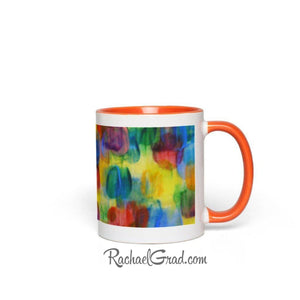 Colourful Abstract Art Mugs, orange handle view from side by Artist Rachael Grad