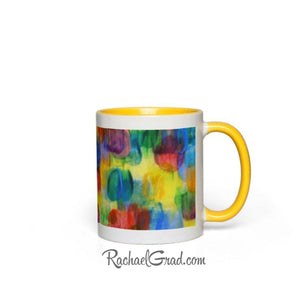 Colourful Abstract Art Mugs, yellow handle view by Artist Rachael Grad