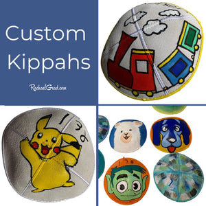 Custom Kippahs by Canadian Artist Rachael Grad with train art