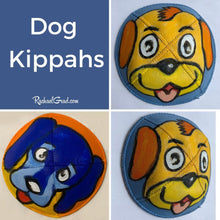 Load image into Gallery viewer, Hand Painted Dog Kippah Yarmulkas Art by Toronto Artist Rachael Grad