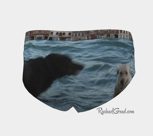 Dogs Swimming Venice, Italy Funny Womens Briefs Underwear Rachael Grad Venetian Vaporetto Boat Canal Water