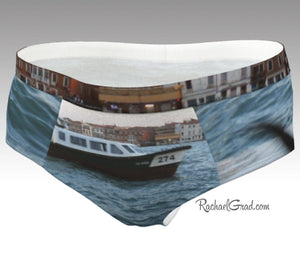 Dogs Swimming Venice, Italy Funny Womens Briefs Underwear Rachael Grad on model Venetian Vaporetto back in canal water