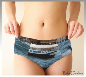 Dogs Swimming Venice, Italy Funny Womens Briefs Underwear Rachael Grad on model front view