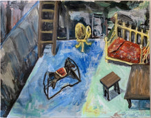 Load image into Gallery viewer, Original painting of dollhouse scene by Toronto artist Rachael Grad