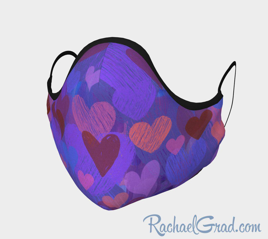 Face Mask with Heart Art by Artist Rachael Grad