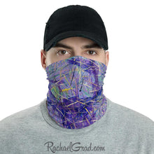 Load image into Gallery viewer, Face Mask Full Coverage with Purple Art by Toronto Artist Rachael Grad front view