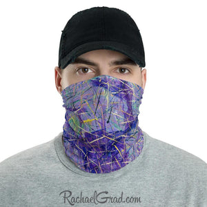 Face Mask Full Coverage with Purple Art by Toronto Artist Rachael Grad front view