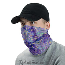 Load image into Gallery viewer, Face Mask Full Coverage with Purple Art by Toronto Artist Rachael Grad side view on man