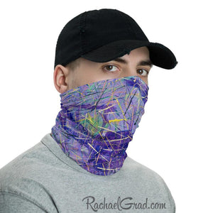 Face Mask Full Coverage with Purple Art by Toronto Artist Rachael Grad side view