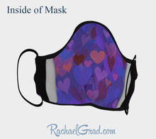 Load image into Gallery viewer, Inside of Face Mask with Hearts Art by Toronto Artist Rachael Grad Canadian made