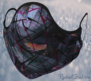 Face Mask with Black Abstract Artwork by Canadian Artist Rachael Grad front