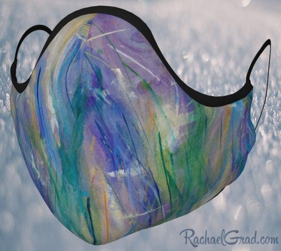 Face Mask with Blue Purple Green Art by Canadian Artist Rachael Grad front view