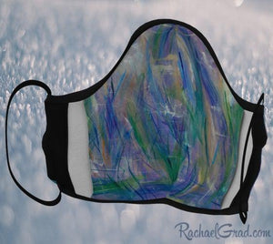 Face Mask with Blue Purple Green Art by Canadian Artist Rachael Grad inside view