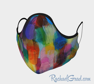 Face Mask with Rainbow Abstract Art by Canadian Artist Rachael Grad front