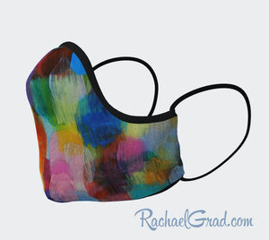 Face Mask with Rainbow Abstract Art by Toronto Artist Rachael Grad side view