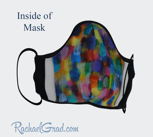 Face Mask with Rainbow Abstract Art by Canadian Artist Rachael Grad inside of mask