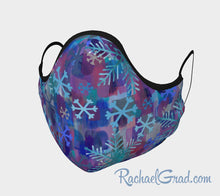Load image into Gallery viewer, Face Mask with Snowflake Art by Canadian Artist Rachael Grad front
