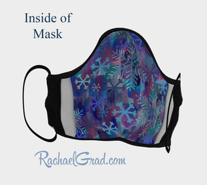 Face Mask with Snowflake Art by Canadian Artist Rachael Grad inside of mask