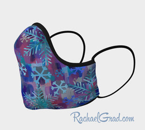 Face Mask with Snowflake Art by Canadian Artist Rachael Grad side view