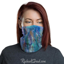 Load image into Gallery viewer, Face mask with full coverage in blue green art by artist Rachael Grad front view