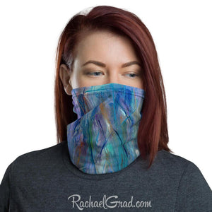 Face mask with full coverage in blue green art by artist Rachael Grad front view